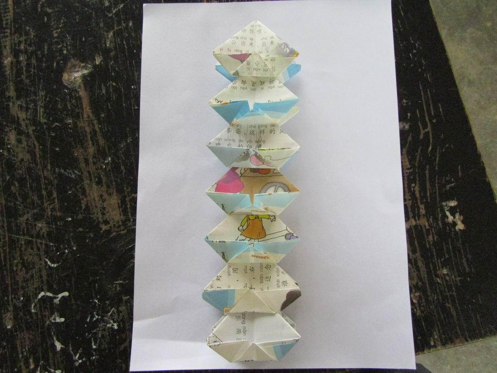 学生手工折纸作品:七宝玲珑塔