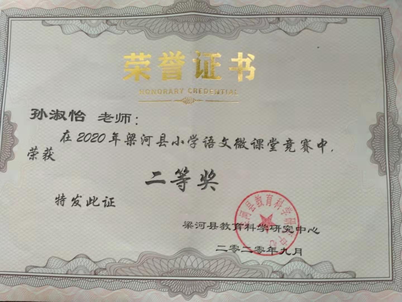尹建丽、张枝花、孙淑怡老师参加2020年梁河县小学语文微课比赛中获奖